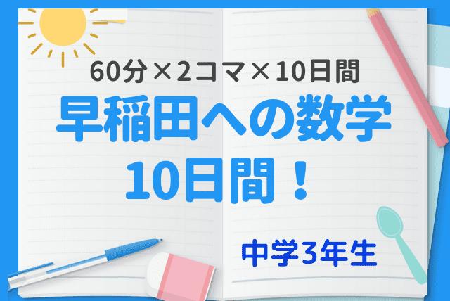 【夏期講習】 早稲田への数学10日間!!  《60分×2コマ×10日間》