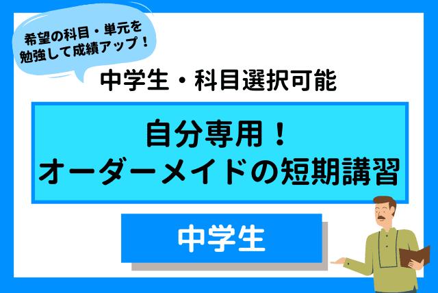 【自分専用オーダーメイドの短期講習】中学生・科目選択(全8回+授業動画録画→チャット質問8回)