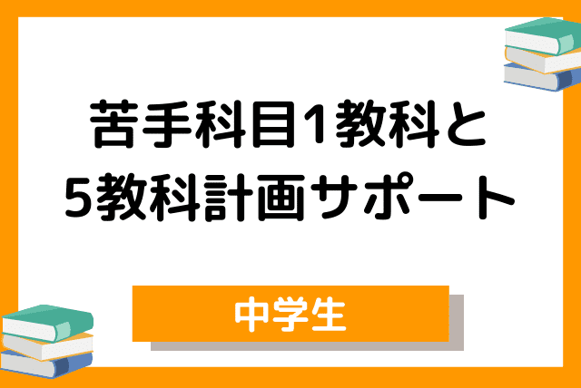 中学1科目【定期テスト対策】&5教科の学習計画指導付き(週1回60分)